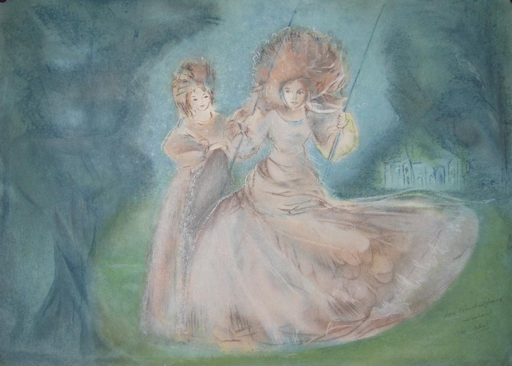Isa Celini Estampe Originale Lithographie Jeune Femme à La Balancoire