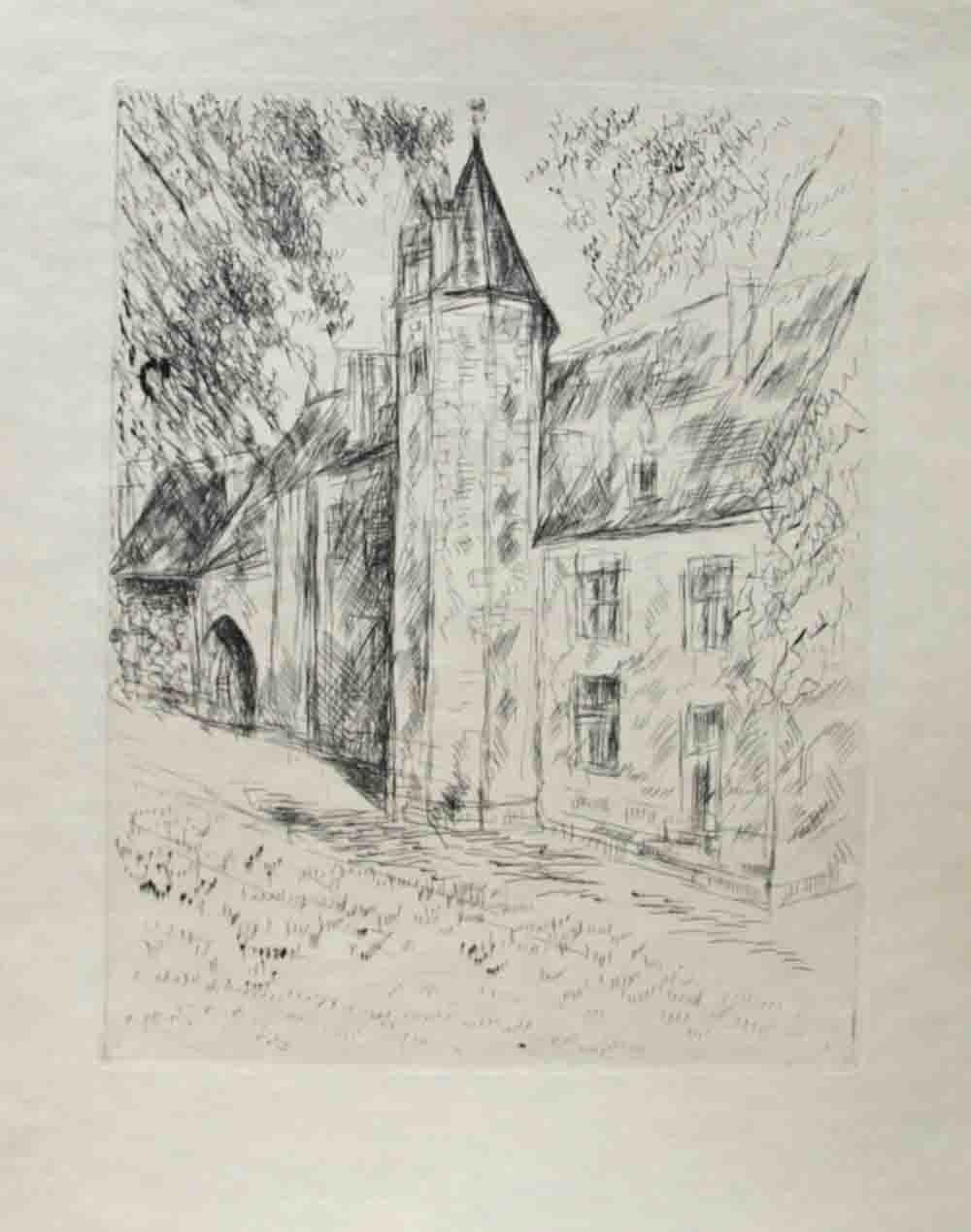 La maison la tour gravure sign d 39 andre dunoyer de for Andre maurois la maison