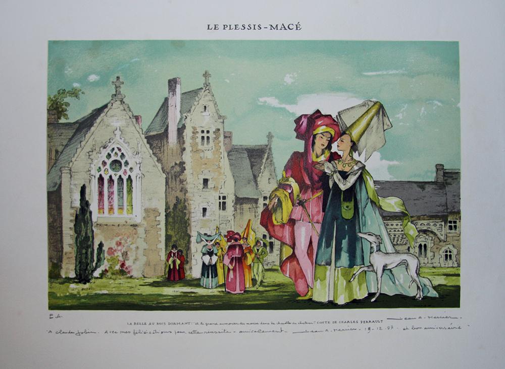"""""""Le Plessis Macé, la belle au bois dormant"""" Litho signée Jean Adrien MERCIER eBay # Le Plessis Aux Bois"""
