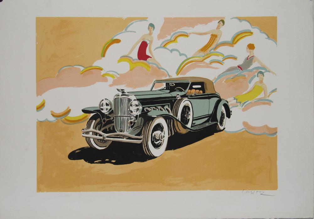daniel lieber lithographie originale sign e voiture belle poque lieber daniel st1371. Black Bedroom Furniture Sets. Home Design Ideas