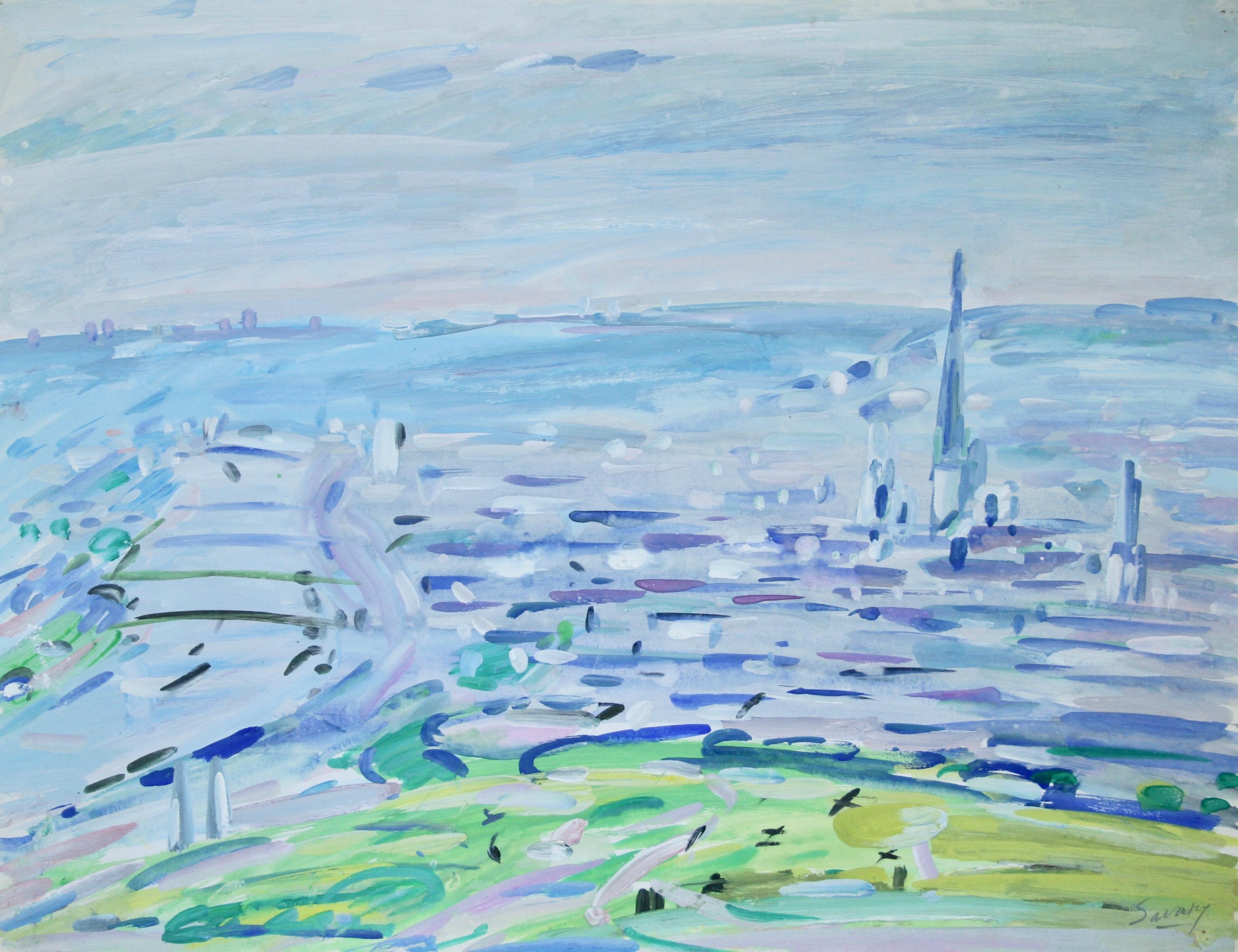 Peintres Ecole De Rouen robert savary - peinture originale - gouache - rouen, vue de la colline st  catherine